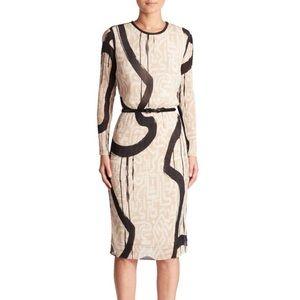 Max Mara Bina Printed Dress Beige Women's Dresses